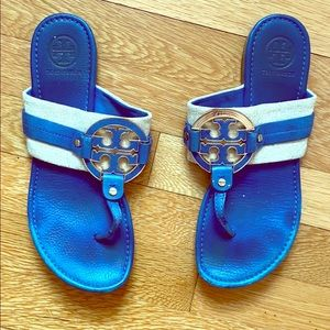 Tory Burch Miller Leather/ Canvas Blue Flip Flop